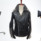 New Biker Golden Silver Studded Mens Black Cowhide Leather Jacket All Sizes