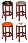 "BAR STOOL CHERRY FINISH WOOD 24"" TALL WITH MLB TEAM LOGO DECAL ON SWIVEL SEAT"