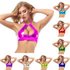 Women Sexy Crop Tank Top Shiny Metallic Vest Halter Bralette Shirt Rave Clubwear