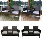 Outdoor Garden Furniture Bench 2-seater With Tea Table Poly Rattan Black/brown