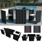 3pcs Rattan Garden Furniture Wicker Dining Set Table And Chairs Outdoor Patio