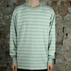 Polar Signature Striped Long Sleeve T-Shirt Tee in Stone Blue in size S,L
