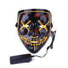 3-Modes Scary Mask Cosplay Led Costume Mask EL Wire Light Up The Purge Movie bb