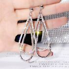Hot Silver Rose Gold Crystal Round Hoop Earrings Womens Jewellery Party Wedding