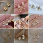 Rose Gold/silver Crystal Round Hoop Earrings Womens Jewellery Gift Party Wedding