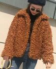 ZARA WOMANS LAPEL COLLAR CAMEL FAUX FUR COAT CURLY TEDDY SHEARLING PLUSH JACKET