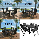 5/7/9 Pieces Outdoor Furniture Garden Dining Set Patio Table Chairs Aluminum Wpc