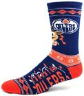 Edmonton Oilers Hockey Ugly Christmas Sweater Reindeer on Leg Crew Sock Blue $9.99 USD on eBay