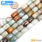 Natural Multi-Color Amazonite Gemstone Drum Barrrel Beads For Jewelry Making 15""