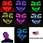 Anonymous Hacker LED Light Up Mask V -- Vendetta Face Halloween Cosplay Mask USA