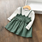 Toddler Baby Girls Party Princess Dress Long Sleeve  Bow Patchwork Tutu Dress VT
