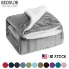 Bedsure Sherpa Throw Blanket Fuzzy Bed Throws Fleece Reversible Blanket for Sofa image