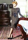 DRESS COCKTAIL PARTY EVENING LONG SLEEVE MADE IN EUROPE STRETCH JACQUARD S M XL