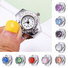 Women Fashion Jewelry Round Finger Ring Watch Stone Steel Elastic Lady Girl Gift image