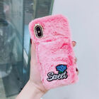 Hand Warm Rabbit Fur Fuzzy Soft Bling Rose Flower Case Cover For Cell Phones