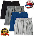 Ultra Mens Knit Boxer Shorts 100% Cotton Assorted Solid Color Underwear   4 Pack