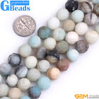 Natural Multi-Color Amazonite Gemstone Faceted Round Matte Beads Free Shipping