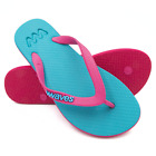 Waves Aqua and Pink Twofold Real Rubber Thong Flip Flops for Women Shower HM0362
