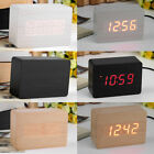 Mini Modern Red LED Display Temperature Digital Wood Wooden Alarm Clock AA