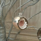 Vintage Style Old Fashioned Glass Indent Bauble Christmas Tree Decoration Silver
