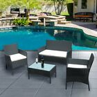 Rattan Garden Furniture Set 4 Piece Chairs Sofa Table Home Outdoor Conservatory❤