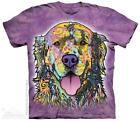 Russo Colorful Painted Golden Retriever The Mountain T-Shirt (3855) All Sizes