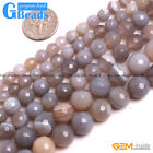 """Natural Gray Stripe Agate Gemstone Faceted Round Beads For Jewelry Making 15"""""""