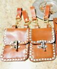 Leather Steampunk Hanging Bags W/Belt Loops Dyed Metal Hardware Cosplay LARP SCA