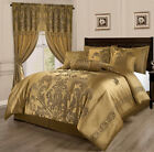 Luxurious Gold 7 pcs Jacquard Floral Comforter Cal King Queen Set  or Curtain image