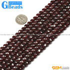 "Natural Garnet Gemstone Coin Flat Beads For Jewelry Making Strand 15"" 6mm"