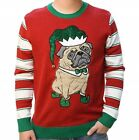 Ugly Christmas Sweater Company Men's 3D Pug Elf Holiday Ugly Crew Neck Sweater