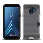 For Samsung A6 Plus S8 S9 Note 9 8 5 Brushed Armor Hybrid Case Cover Card Holder