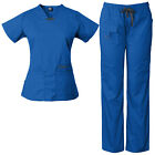 Medgear Womens scrub set Utility 4 pocket top, 7 Pocket 2043 pant with D-ring