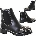 Ladies Goth Zip Studded Chelsea Gusset Punk Chunky Heel Ankle Boots Shoes