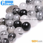 "Natural Black Rutilated Quartz Round Beads For Jewelry Making 15"" Free Shipping"