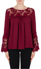 Joseph Ribkoff Cranberry Red Lace Trimmed Bell Cuff Long Sleeve Top 184251 NEW