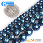 4-10mm Blue Coated Faceted Magnetic Hematite Round Beads for Jewelry Making 15""