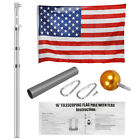 16'20'25' Aluminum Sectional/Telescopic Flagpole Kit Outdoor Pole+1PC US Flag