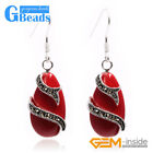 Fashion 14x24mm Drip Beads Marcasite Silver Dangle Earrings Christmas Gift
