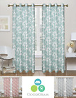 2 Pack: 100% Blackout Thermal Pastel Floral Curtain Panels - Assorted Colors