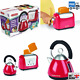 Kids Toaster and Kettle Set Play Learn Pretend Kitchen Toy Fillable Chamber UK