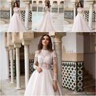 Lace Wedding Dress Neck A Line Sweep Train Long Sleeve Country Bridal Gown Plus+