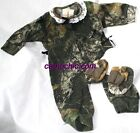 MOSSY OAK CAMO BABY INFANT SNAP UP LACE GIFT SET - GIRL, HAT & BOOTIES, SLEEPER