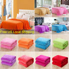 Super Soft Warm Plain Micro Plush Fleece Flannel Blanket Throw Sofa Bedding US image