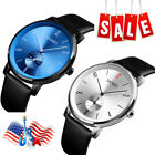 New Mens Large Dial Waterproof Stainless Leather Band Casual Dress Watch US Ship image