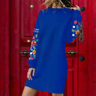 Robe Femme Mode Large Col Rond Pulls Floral Manches Longues Robe en Vrac Sweats
