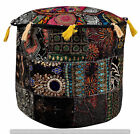 Indian Pouf Cover Ottoman Pouffe Foot stool Round Poof Floor Cotton Sofa Set