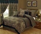 New Deluxe Jacquard Black Gold 7 pcs Cal King Queen Comforter set Or Curtain set image