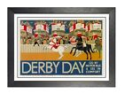 Derby Day Old Vintage Advert Poster Horses Racing Derbyshire England Picture