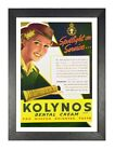 Kolynos Old Vintage Advert Poster Smiling White Tooth Lady Picture Happy Face